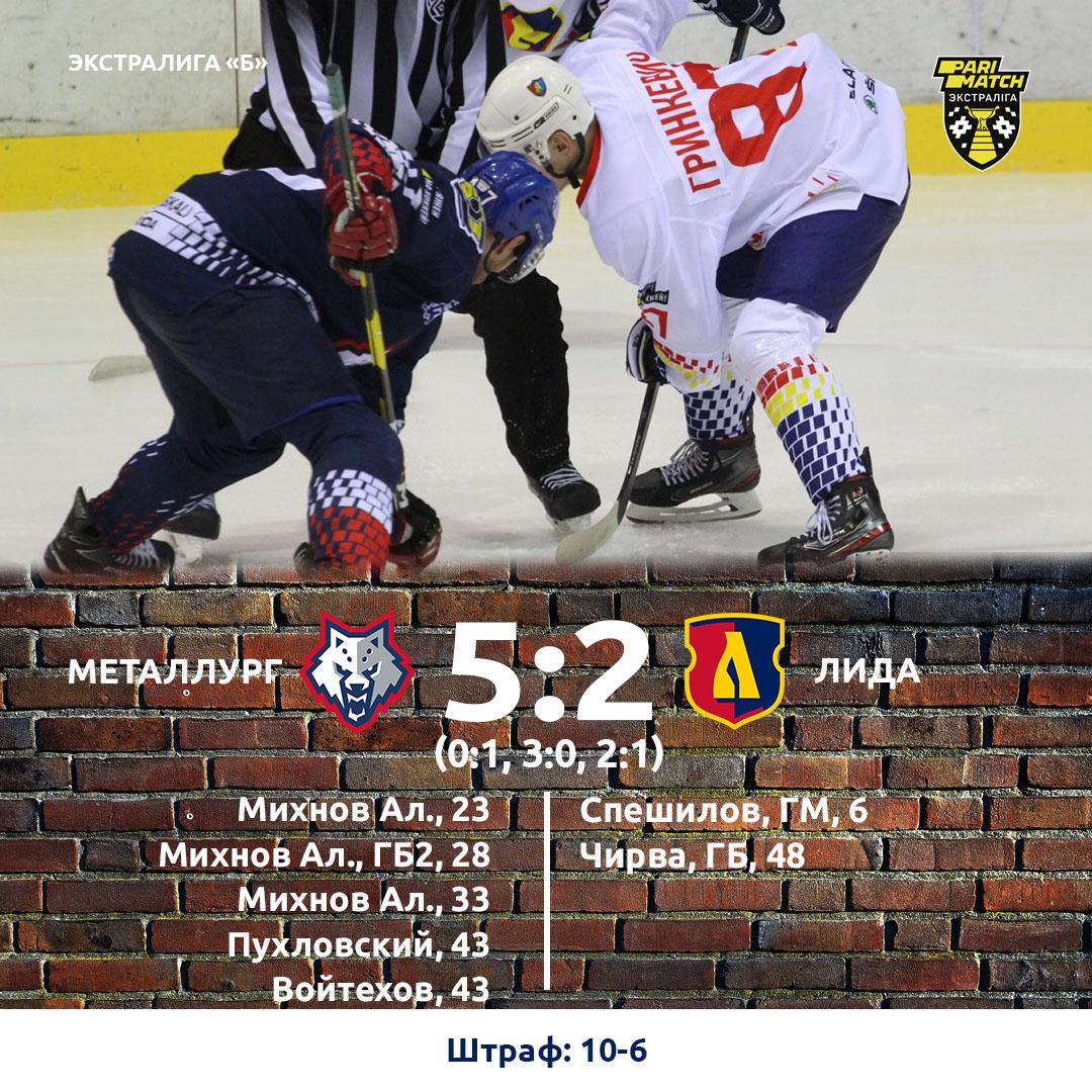Хоккейный клуб «Лида» на выезде уступил «Металлургу»
