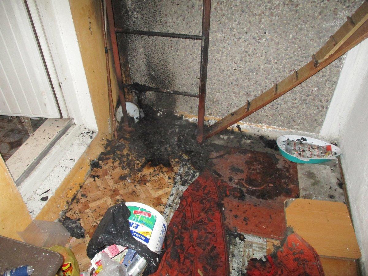 Балкон многоквартирного жилого дома горел в Лиде